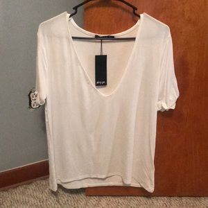 Nasty Gal Deep V T-Shirt NEW with tags! Size M/L